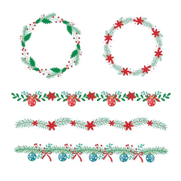 Traditionelle weihnachtsrahmen und -grenzen im flachen design Kostenlosen Vektoren