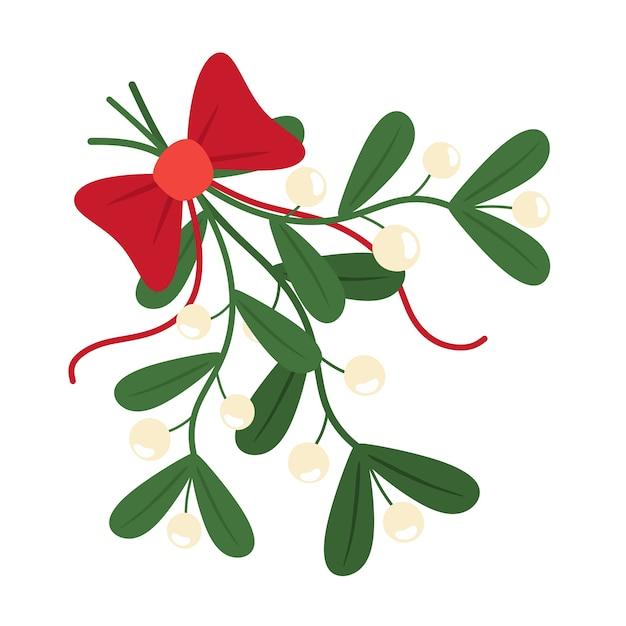Traditioneller europäischer zweig der weihnachtsmistel. mistelzweig mit schleife und band. im flachen stil. Premium Vektoren