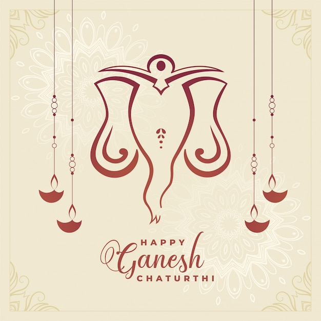 Traditioneller glücklicher ganesh chaturthi festival-feierhintergrund Kostenlosen Vektoren