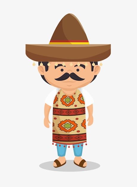 Traditioneller kleiderentwurf des mexikanischen mannhutes Premium Vektoren