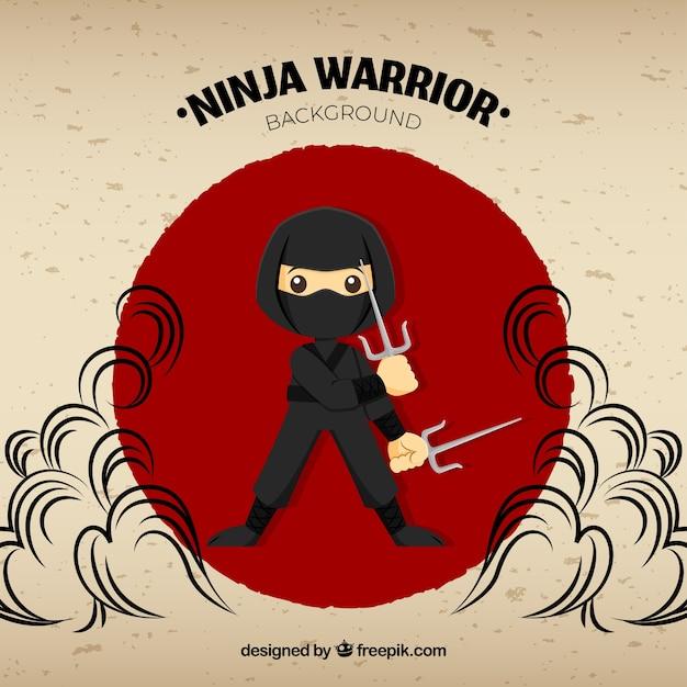 Traditioneller ninja-kriegershintergrund mit flachem design Kostenlosen Vektoren