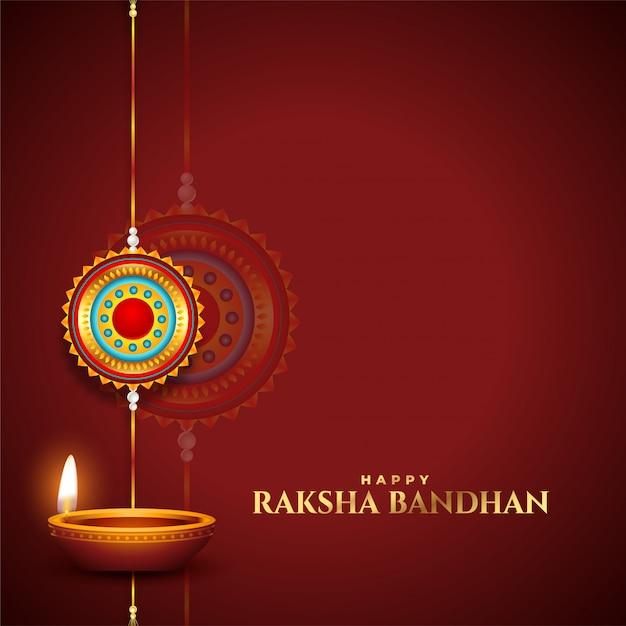 Traditioneller raksha bandhan wünscht karte mit diya und rakhi Kostenlosen Vektoren