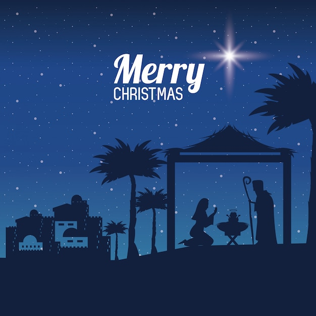 Traditionelles christliches weihnachten Premium Vektoren
