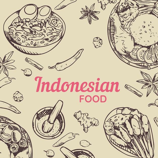 Traditionelles indonesisches lebensmittel-gekritzel handgezeichnet Premium Vektoren