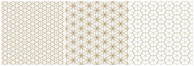 Traditionelles japanisches geometrisches muster der nahtlosen holzarbeit. braune durchschnittliche und dünne linien. Premium Vektoren