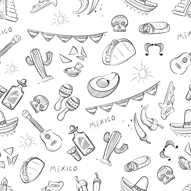 Traditionelles mexikanisches essenmuster Premium Vektoren