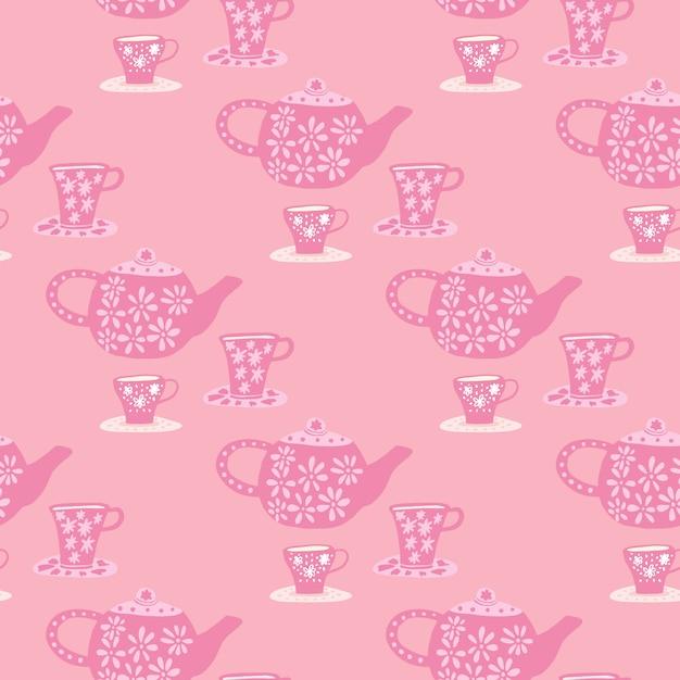 Traditionelles nahtloses muster mit gekritzel-teezeremonieelementen. café-druck mit rosa palette. Premium Vektoren