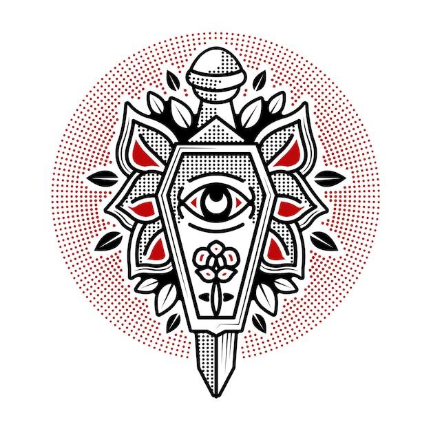 Traditionelles tattoo-design für sarg und dolch Premium Vektoren