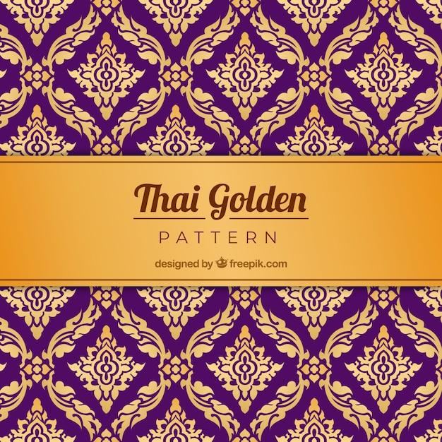 Traditionelles thailändisches muster mit goldener art Kostenlosen Vektoren