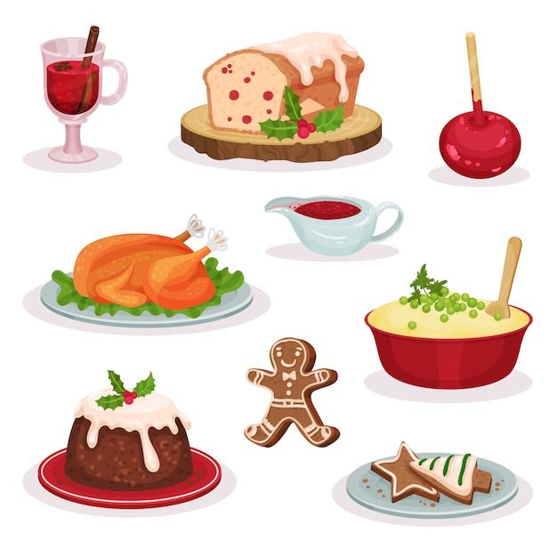 Traditionelles weihnachtsessen und dessertset, glühwein, obstkuchen, karamellapfel, gebratener truthahn, kartoffelpüree, pudding, lebkuchenplätzchen illustration Premium Vektoren