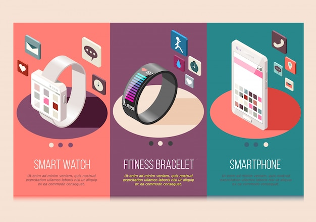 Tragbare elektronik smartphone und uhr fitness armband satz von isometrischen zusammensetzungen isoliert Kostenlosen Vektoren
