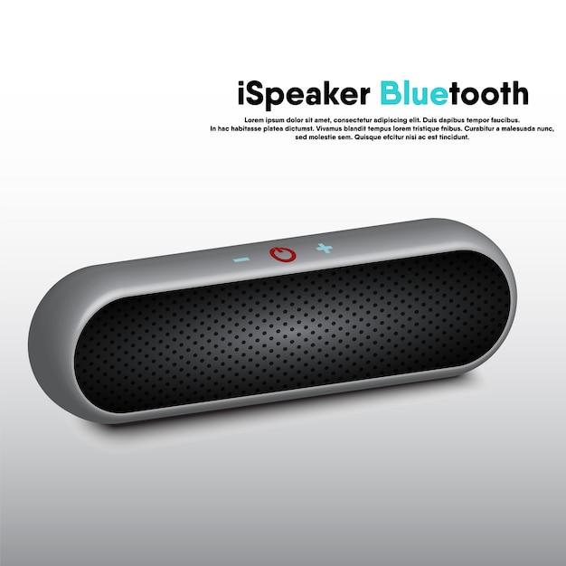 Tragbarer bluetooth-lautsprecher mit realistischem 3d-design, lautsprecher für elektronische musik zum hören von unterhaltungs- und freizeitveranstaltungen. Premium Vektoren