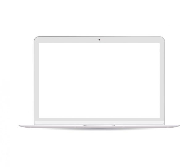 Tragbarer notebook-computer mit weißem lcd-bildschirm Premium Vektoren