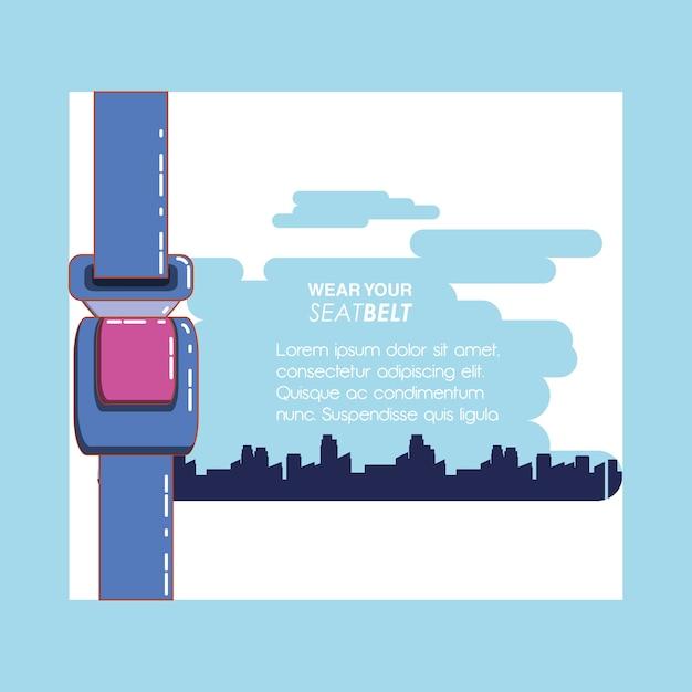 Trage dein sicherheitsgurt-vektor-illustration-design Premium Vektoren