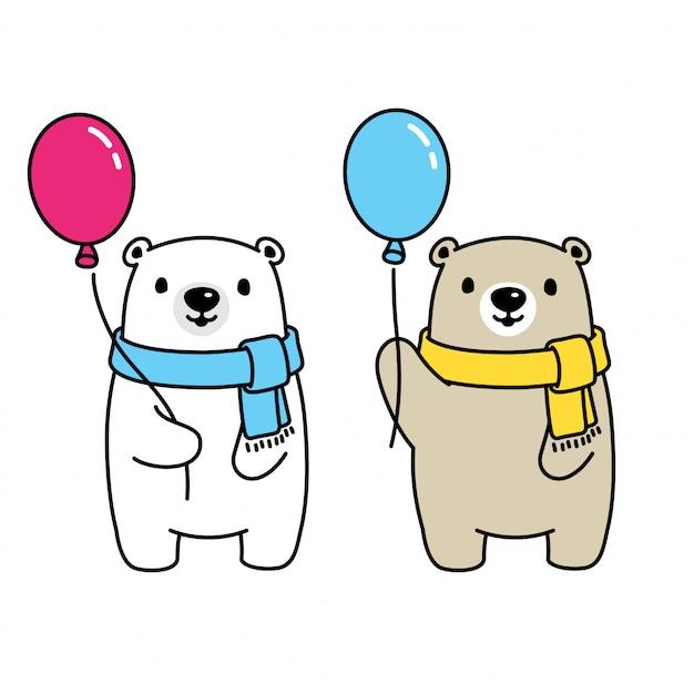 Tragen polare ballonkarikaturillustration Premium Vektoren