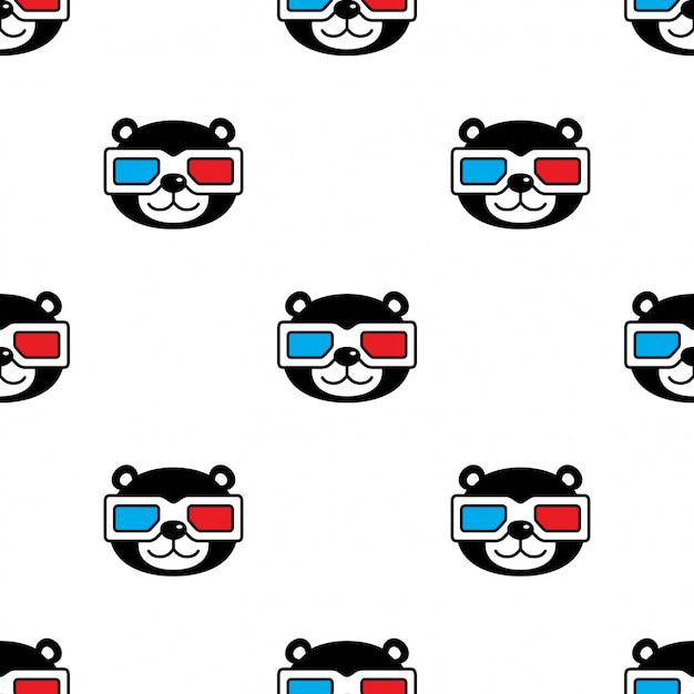 Tragen polare nahtlose muster brille cartoon Premium Vektoren