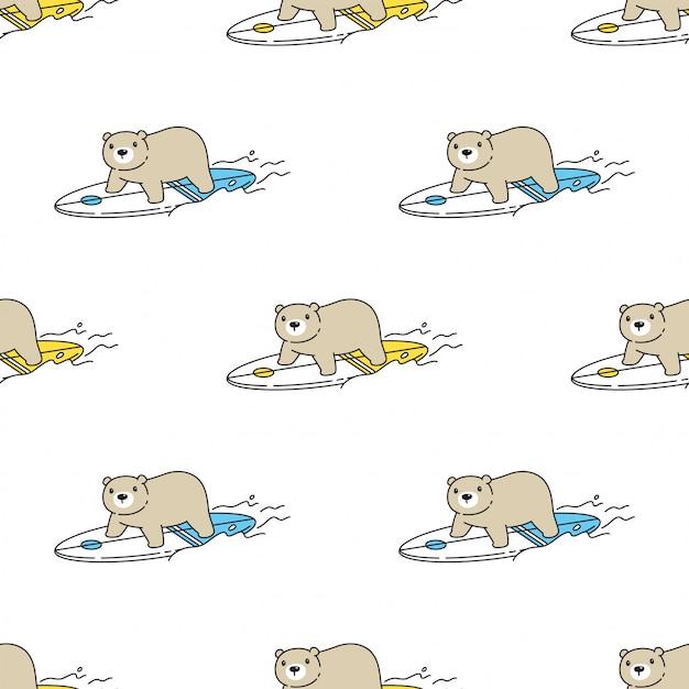 Tragen polare nahtlose muster surfbrett cartoon Premium Vektoren