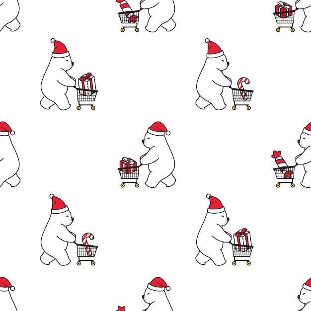 Tragen polare nahtlose muster weihnachten santa claus einkaufswagen Premium Vektoren