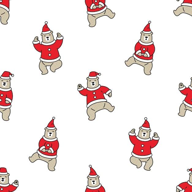 Tragen polare nahtlose muster weihnachten weihnachtsmann Premium Vektoren