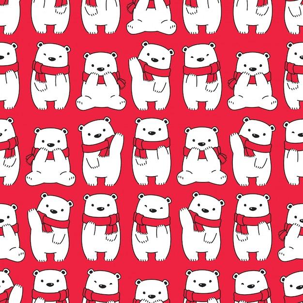 Tragen polare nahtlose muster weihnachtsschal cartoon Premium Vektoren