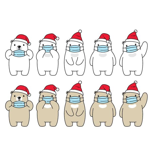 Tragen polare weihnachten santa claus hat gesichtsmaske Premium Vektoren