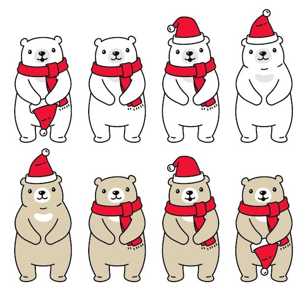 Tragen polare weihnachten santa claus hat schal illustration Premium Vektoren