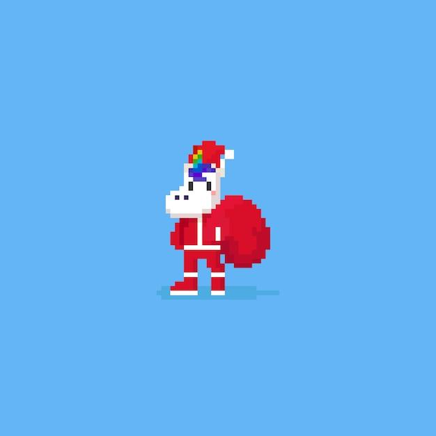 Tragen sie das kostüm des pixel-einhorns weihnachtsmann mit roter tasche Premium Vektoren