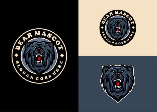 Tragen sie grizzly creative modern emblem einzigartiges logo-design Premium Vektoren