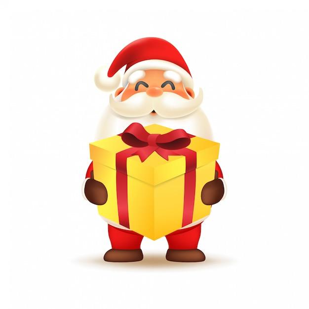 Tragende geschenkbox netten weihnachtsmanns Premium Vektoren