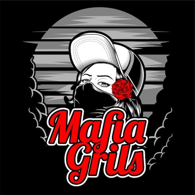 Tragende kappe und rose des mafiamädchens Premium Vektoren