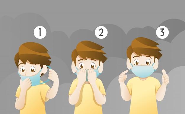 Tragende maske des jungen für schützen verschmutzung Premium Vektoren