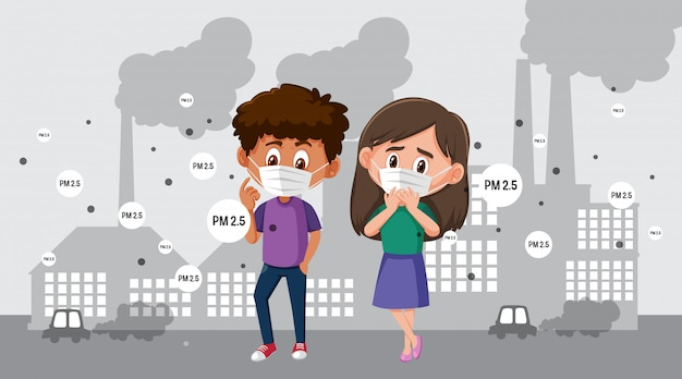 Tragende maske des jungen und des mädchens in der stadt mit luftverschmutzung Premium Vektoren