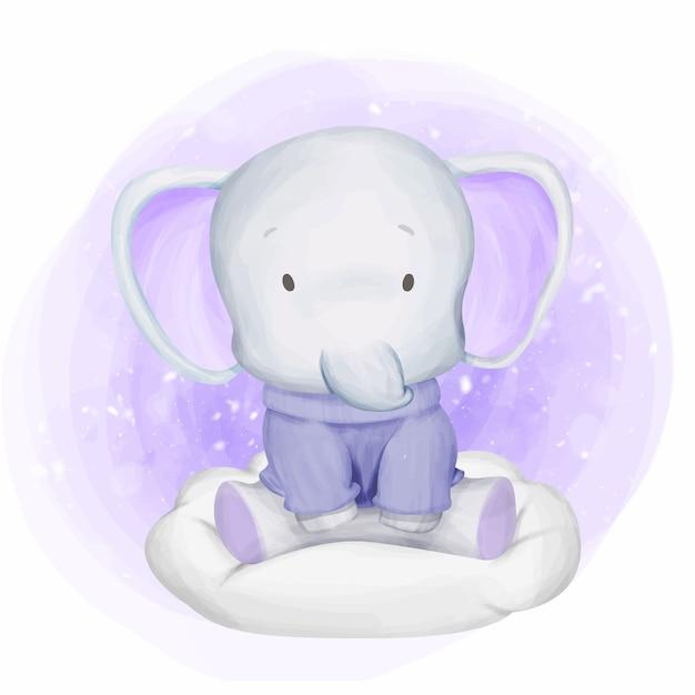 Tragende strickjacke des baby-elefanten auf wolke Premium Vektoren