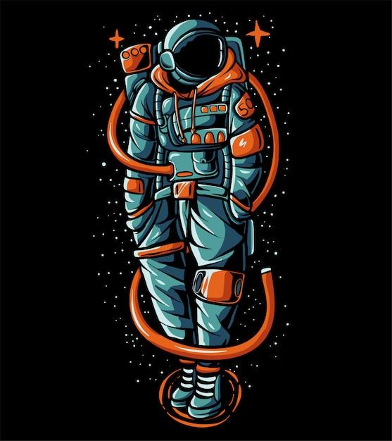 Tragende strickjackenillustration des übertreibungs-astronauten Premium Vektoren