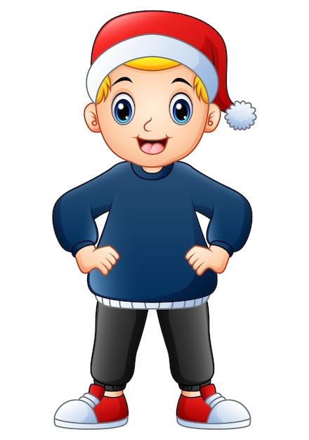 Tragende Weihnachtskappe der glücklichen Jungenkarikatur | Download ...