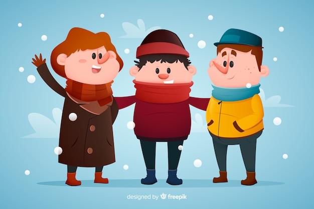 Tragende winterkleidungshand der leute gezeichnet Kostenlosen Vektoren