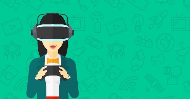 Tragender kopfhörer der virtuellen realität der frau Premium Vektoren