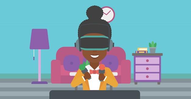 Tragender kopfhörer der virtuellen realität der frau. Premium Vektoren