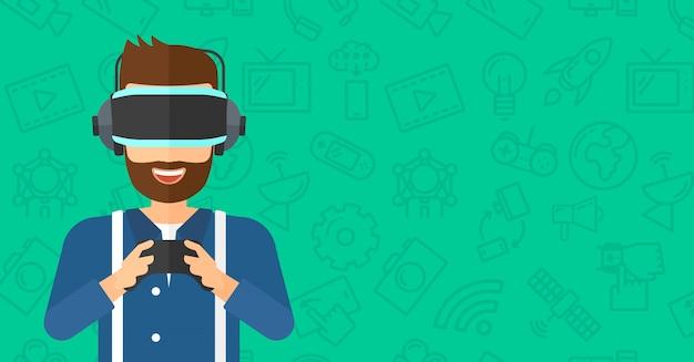 Tragender kopfhörer der virtuellen realität des mannes Premium Vektoren