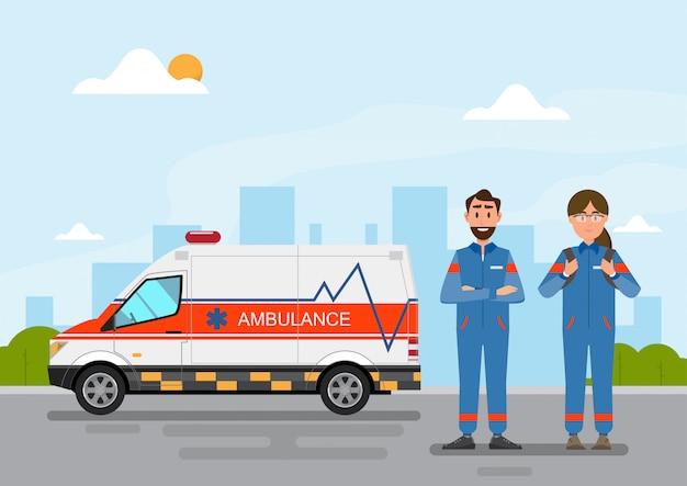 Tragender patient des medizinischen dienstes des krankenwagens mit mann- und frauenpersonal Premium Vektoren