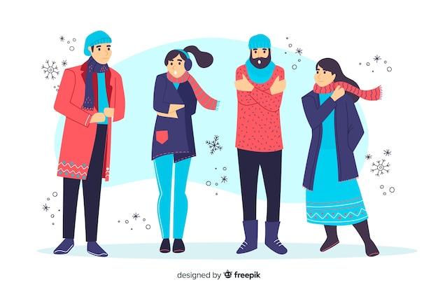 Tragender winter der leute kleidet illustration Kostenlosen Vektoren