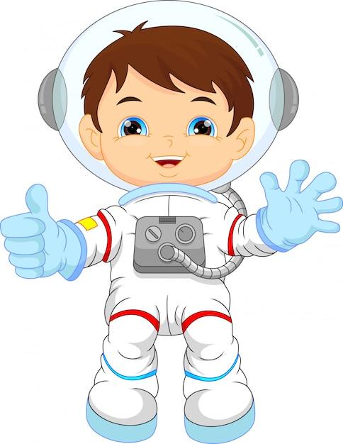 Tragendes astronautenkostüm des kleinen jungen der karikatur Premium Vektoren