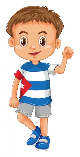 Tragendes hemd des kleinen jungen mit kuba-flagge Kostenlosen Vektoren