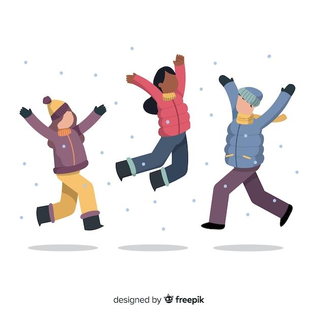 Tragendes winterkleidungsspringen der jungen leute Kostenlosen Vektoren
