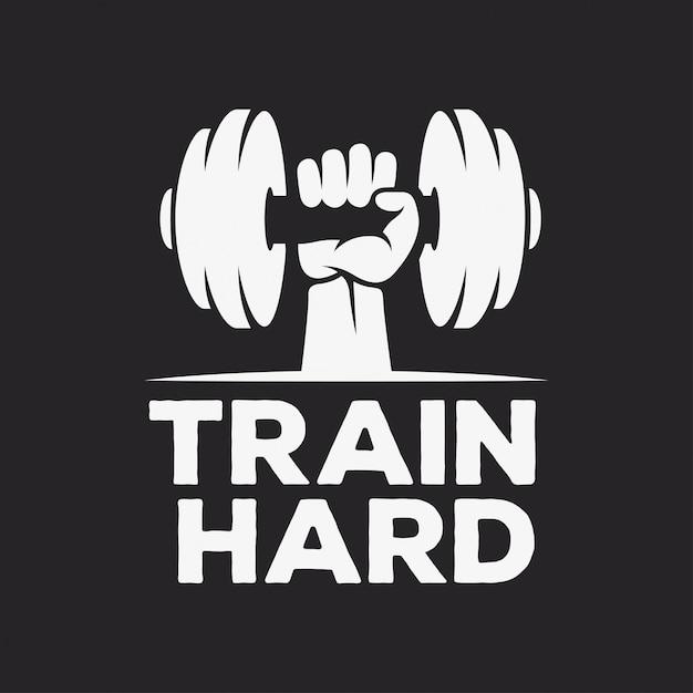 Trainiere hartes motivationsplakat oder t-shirt design Premium Vektoren
