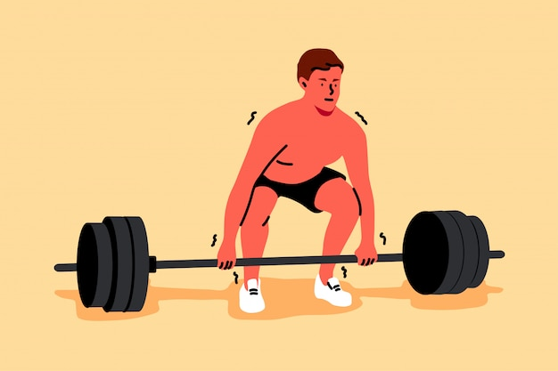 Training, sport, heben, kraft, fitness, bodybuilding-konzept Premium Vektoren