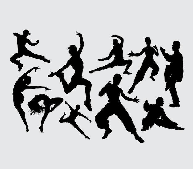 Training tanz und kung fu sport silhouette Premium Vektoren