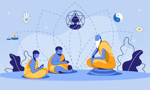 Trainings-junge karikaturillustration der buddhistischen mönche Premium Vektoren