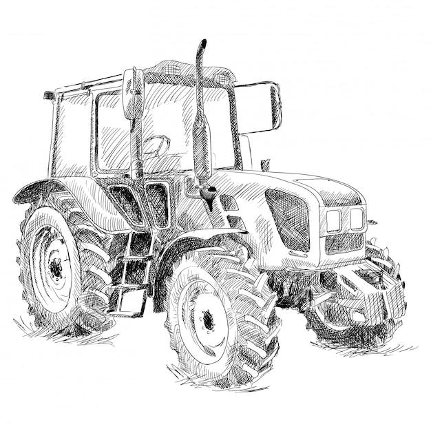 Traktor auf großen rädern. Premium Vektoren