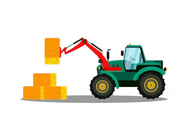 Traktor-ballenlader flach. landwirtschaftliche maschinen Premium Vektoren